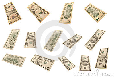 Different dollar s banknotes (isolated)