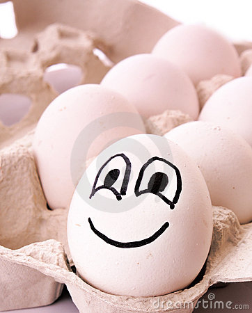 Different egg with smile