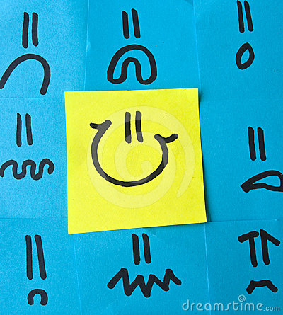 Different Emotions Drawn on Post-its