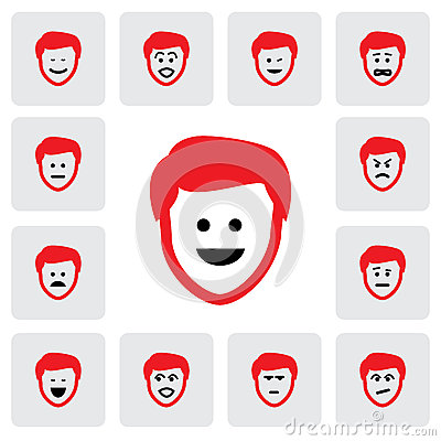 Different emotions & feelings of young man s face-vector graphic