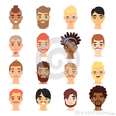 Different ethnic nationality affiliation man head face vector icons. Vector Illustration