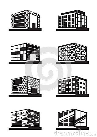 Different facades of buildings