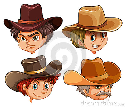 Different faces of four cowboys