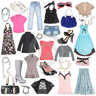 Free Different Female Clothes, Shoes And Accessories. Royalty Free Stock Images - 14625699