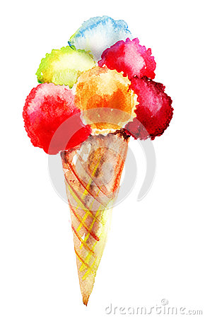 Different flavor ice creams with cone