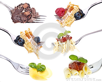 Different food on Forks