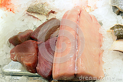 Different fresh seafood filets on ice