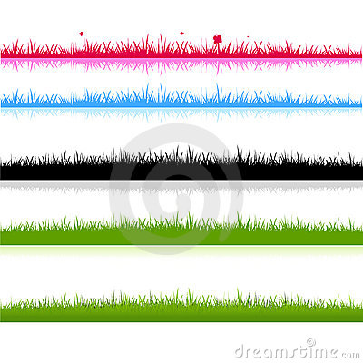 Different grass fields silhouette