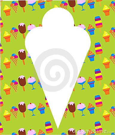 Different ice-cream icons on green background