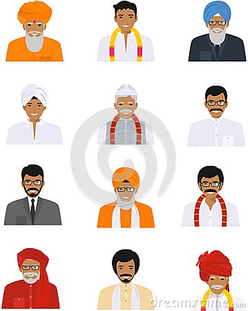 Free Different Indian Old And Young Men Characters Avatars Icons Set In Flat Style  On White Background. Differences Stock Images - 80444984