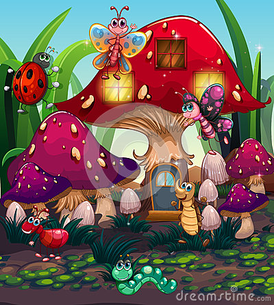 Free Different Insects Living In The Mushroom House Stock Images - 66704424