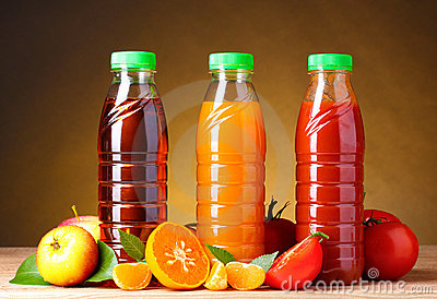 Different juices and fruits on
