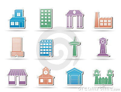 Different kind of building and City icons