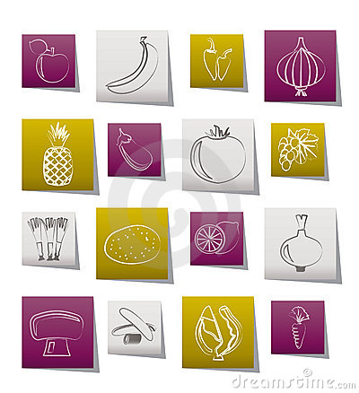 Different kind of fruit and vegetables icons