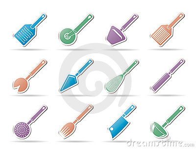 Different kind of kitchen accessories icons