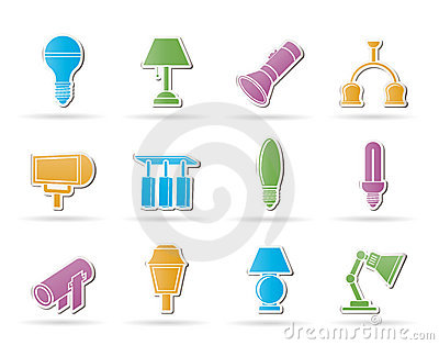 Different kind of lighting equipment Vector Illustration
