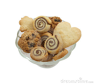 Different kinds of cookies in a vase