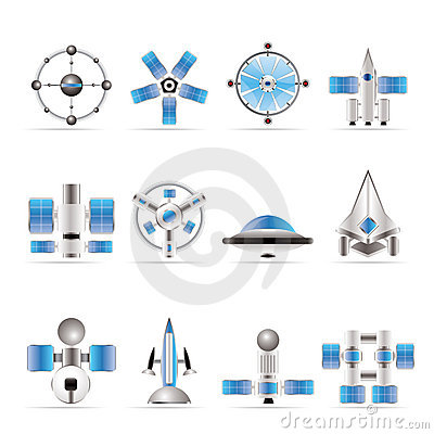 Different Kinds Of Future Spacecraft Icons Royalty Free ...