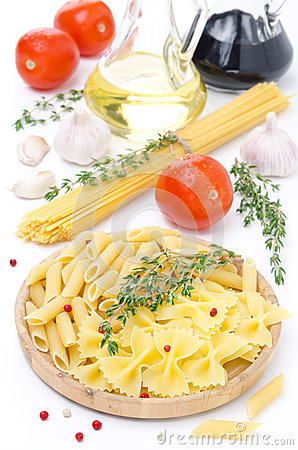Different Kinds Of Italian Pasta, Fresh Tomatoes Stock ...