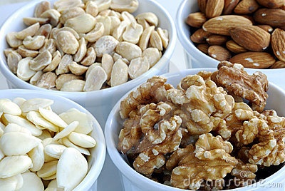 Different kinds of nuts like almonds, peanuts, etc