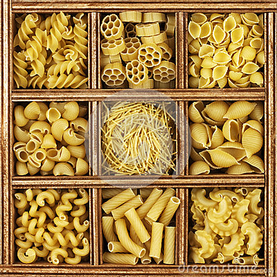 Free Different Kinds Of Italian Pasta Royalty Free Stock Photos - 25510538
