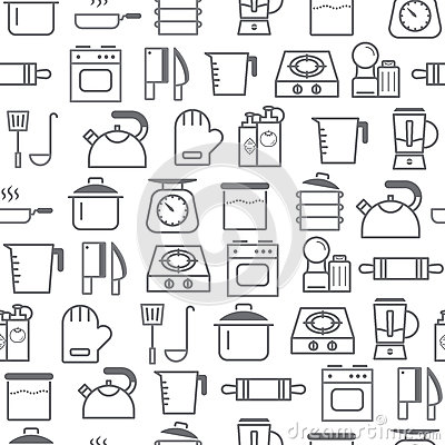 Free Different Line Style Icons Seamless Pattern, Kitchen Royalty Free Stock Image - 87908406
