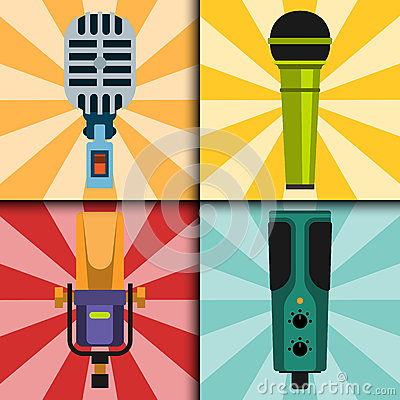 Different microphones types cards journalist vector interview music broadcasting vocal tool tv tool. Vector Illustration