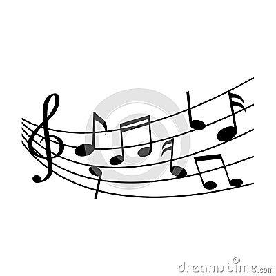 Different music notes. Vector illustration Cartoon Illustration