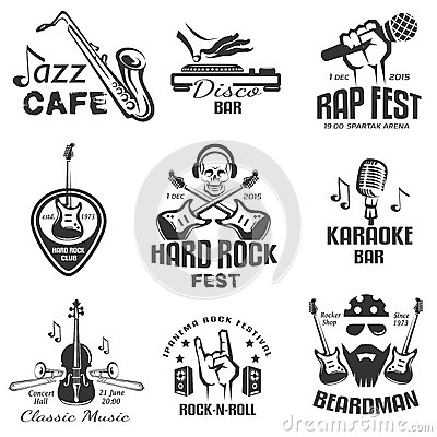 Free Different Music Styles Retro Emblems Stock Photography - 63182672