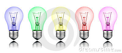 Different New Ideas - Row of Colored Lightbulbs