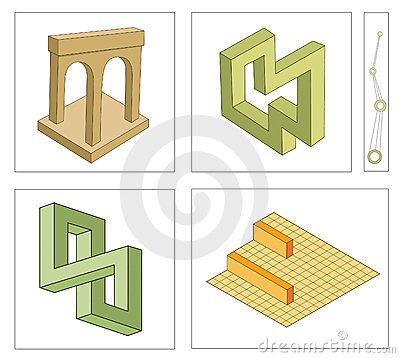 Different optical illusions of impossible objects