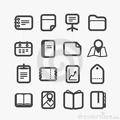 Different paper stuff icons set