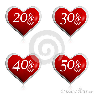 Free Different Percentages Off Discount In Red Hearts Buttons Stock Photography - 29072782