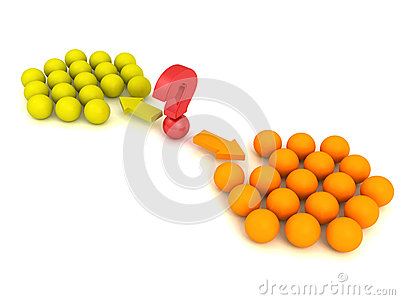 Different red ball choice two concept team groups