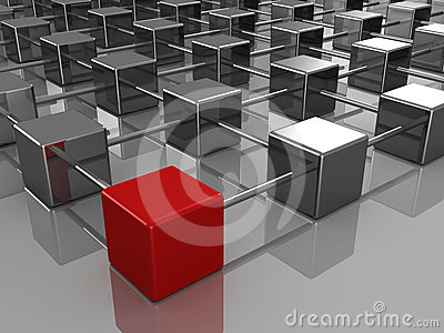 Different red cube in the hierarchical structure