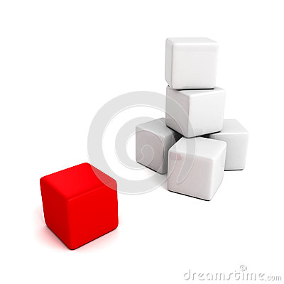 Free Different Red Cube Out From White Tower Stack Stock Images - 40091844