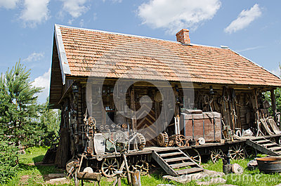 Different retro rural tools old wooden log house