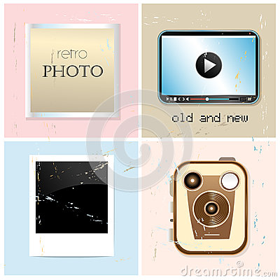 Different set of retro and new photographic subjects