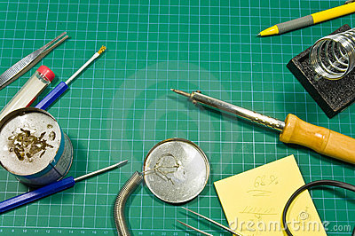 Different soldering hobby tools still life.