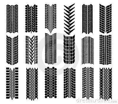 Different straight tyre imprints