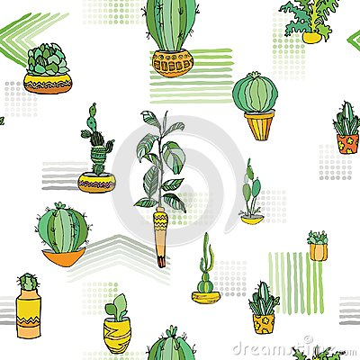 Free Different Type Indoor Plants In Cute Flowerpots With Traditional Ornament. Seamless Pattern. Vector Illustration. Stock Photography - 112883252