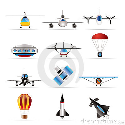 Different types of Aircraft Illustrations and icons - Vector icon set ...