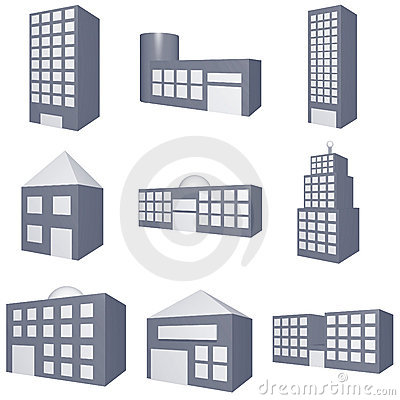 Different Types of Buildings Icons Set