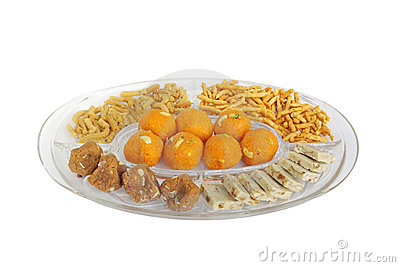 Royalty Free Stock Photos: Different types of Indian sweets and snacks