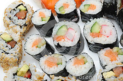 Different Types of Maki Sushi in Sushi Set