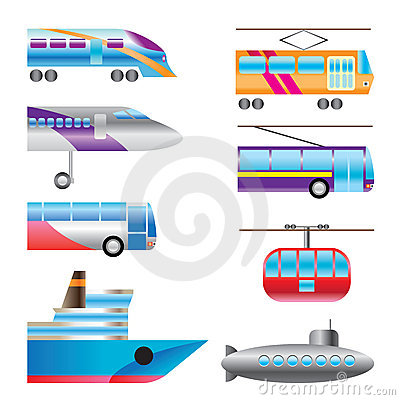 Different Types Of Transportation Icons Stock Photo - Image: 11934770