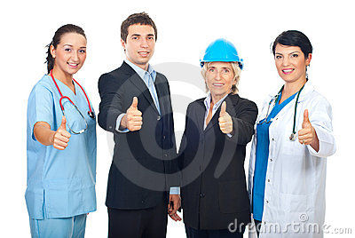 Different workers giving thumbs up