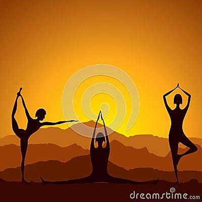 Different yoga women figure