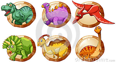 Diff rents types de dinosaures sur les boutons ronds - Differents types de miroirs ...