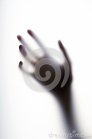 Free Diffused Shadow Of Hand With Thin Fingers Behind The Frosted Glass Stock Images - 98821924